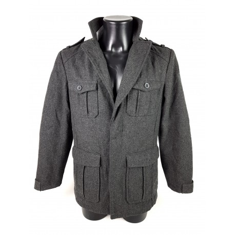 TOM TAILOR JACKE  / MANTEL  WOOL GRAU M Herren ORIGINAL